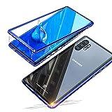 Jonwelsy Funda para Samsung Galaxy Note 10+ (6,8 Pulgada), Fuerte Adsorción Magnética Metal Bumper, Cubierta Trasera de Transparente Vidrio Templado Ultra Delgado Case Cover para Note 10 Plus (Azul)