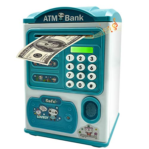 Beaulyn Talking Piggy Banks, Money Bank Fingerprint with Password, Electronic Coin Banks and Saving Box, Auto Scroll Paper Money & Coin, Mini ATM for Kids Toy