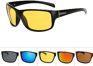SGJFZD Mens Outdoor Riding Glasses Sports Polarized Sunglasses Windshield PC UV400 Sunglasses (Color : Yellow)
