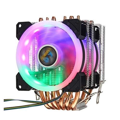 Xiaochen Bricolaje Asamblea del radiador Radiador de la CPU 6 Pipa de Calor de 4 Pines RGB 2 Ventilador, utilizados en el teléfono 775/1150/1151/1155/1156/1366