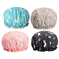 SUPVOX 4ピースシャワーキャップ二重層弾性防水風呂帽子ボンネットヘッドカバー用女性女の子化粧レディサロン(フラミンゴペガサス)