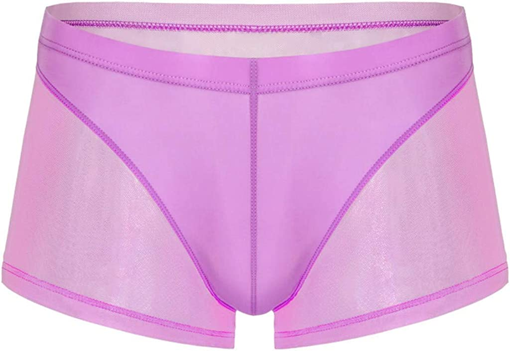Men Sexy Boxer Briefs Sheer See Through Thong Underwears Breathable Stretch Transparent Yarn