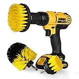 StillCool Drill Brush Cepillos para el Taladro, 3pcs Electric Drill Brush 2'3.5' 4'Cepillo eléctrico para Automóvil, Alfombra, Baño, Piso de madera, Cuarto de lavado, Cocina (Amarillo)