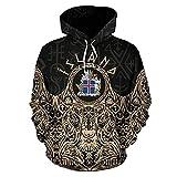 Iceland Vikings Hoodies, Sudadera con Capucha del Escudo Armas Golden Harajuku Unisex Chaqueta Casual Jersey,Negro,7XL