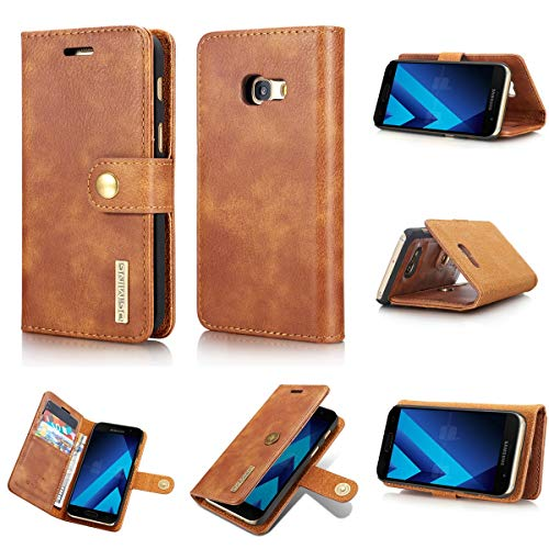 NOLOGO Caso proctive Caja del teléfono del Libro de Tela tirón de la Piel de teléfono Ranura del Caso for Samsung A320 Tarjeta Monedero Cubierta magnética (Color : Brown)