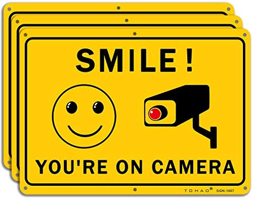 Smile You re on Camera Sign TOHAO 3 Pack Video Surveillance Warning Signs 10 x 7 UV Printed product image
