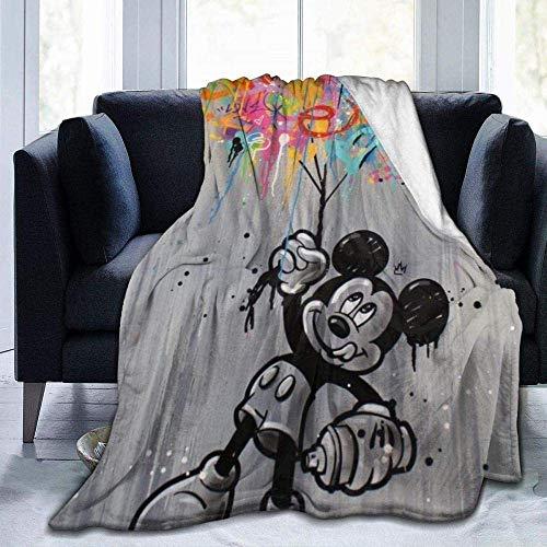 Manta de Mickey Mouse Minnie de gran tamaño, cálida para adultos, supersuave, con franela suave antibolitas para adultos y niños, impresión 3D, 60 x 50 pulgadas