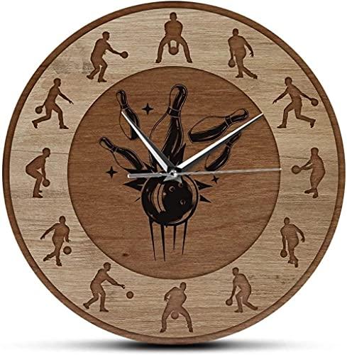 Reloj de pared Digital Bowling Shot Textura de madera Reloj de pared impreso Arte deportivo Reloj de pared de cuarzo silencioso Bolera Decoración de pared rústica Bolos Regalo Adecuado para tiendas Re