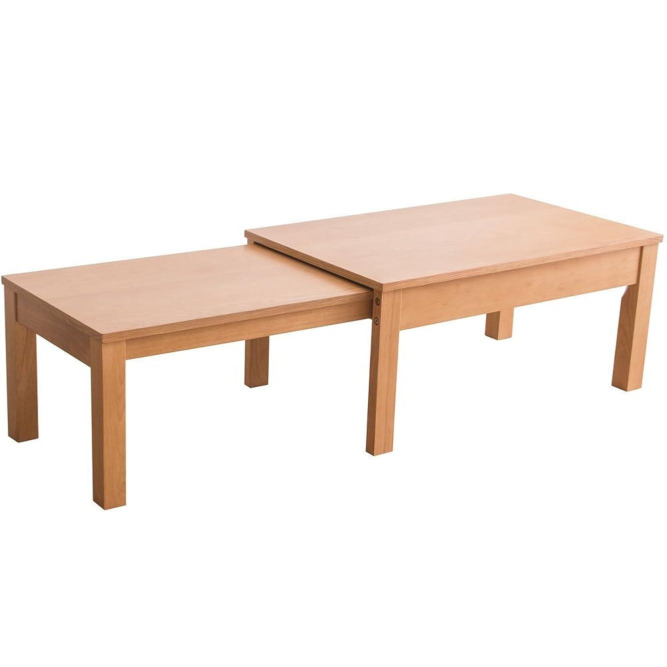アイリスプラザ テーブル リビングテーブル 伸縮 木製 天然木 キャスター付き シンプル ナチュラル 幅約80-140cm RPE80TBLNA