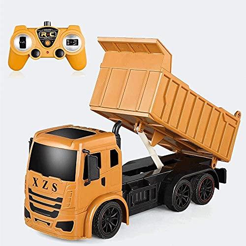 UimimiU Control Remoto Coche 1/14 Simulación de Escala RC Construcción Vehículo de camión Vehículo 7 Canales Funcional Completo 2.4GHz 4WD Recargable RC Aleación de camión con Luces/Sonidos Regalo p