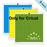 ReArt Cutting Mat Variety 12x12 for Cricut – 3 Pack Stronggrip, Standardgrip, Lightgrip Adhesive Cut Mat Replacement Work with Cricut Explore One/Air/Air 2/Maker