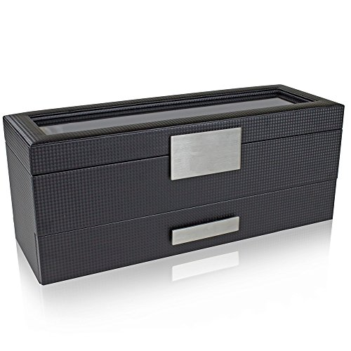 Glenor Co Watch Box with Valet Drawer for Men - 6 Slot Luxury Watch Case Display Organizer, Carbon Fiber Design -Metal Buckle for Mens Jewelry Watches, Men's Storage Holder Boxes has a Large Glass Top