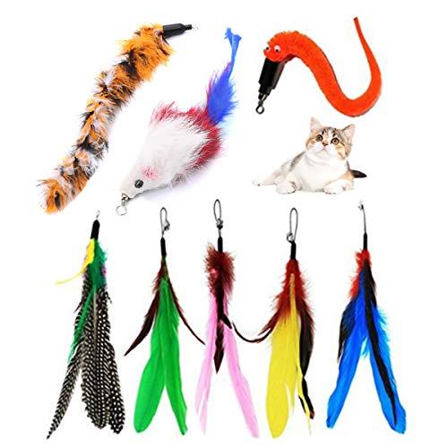 8 Stück Katzenspielzeug Feder-Nachfüller, Katzenspielzeug, interaktives Katzen-Federspielzeug, Ersatz für Katzen- und Kätzchenspielzeug-Stäbe