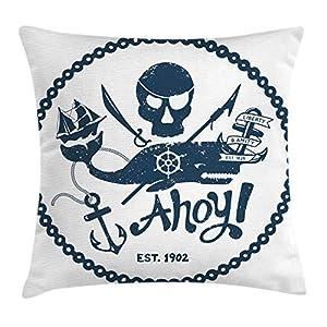 ABAKUHAUS Ancla Funda para Almohada, Estilo Vintage Náutico Calavera Pirata y Ballena Diseño con Barco Ancla Imagen, Colores Perdurables Tela Lavable, 50 x 50 cm, Azul Oscuro