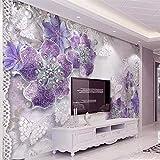 Afashiony Individuelle Tapeten 3D Fototapete Europäische Stereotapete Edle Wunderschöne Lila Blumen Tv Hintergrund Poster Wanddekoration Tapete Wandbild-144Cmx100Cm