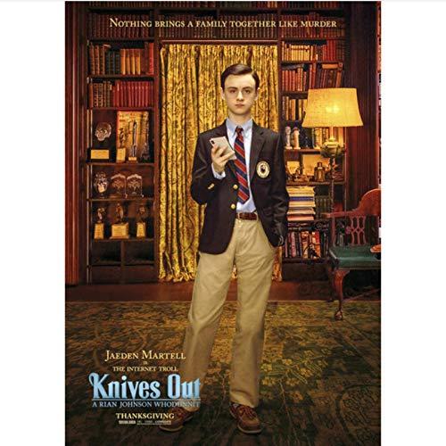 danyangshop Papierkarte Moive Knives Out Poster Chris Evans Daniel Craig Ana De Armas Michael Shannon Jamie Lee Wandaufkleber K-7 (50X90Cm) Ohne Rahmen