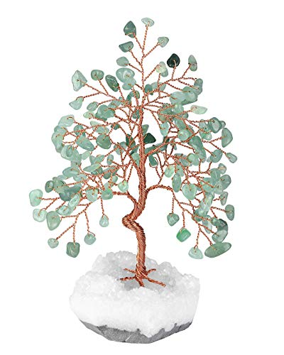 Top Plaza Green Aventurine Healing Crystals Copper Money Tree Wrapped On Clear Quartz Cluster Geode Druzy Base Home Office Desk Decor for Reiki, Good Luck, Wealth, Feng Shui
