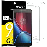NEW'C Lot de 2, Verre Trempé Compatible avec Lenovo Moto G4 Plus, Film Protection écran sans Bulles d'air Ultra Résistant (0,33mm HD Ultra Transparent) Dureté 9H Glass