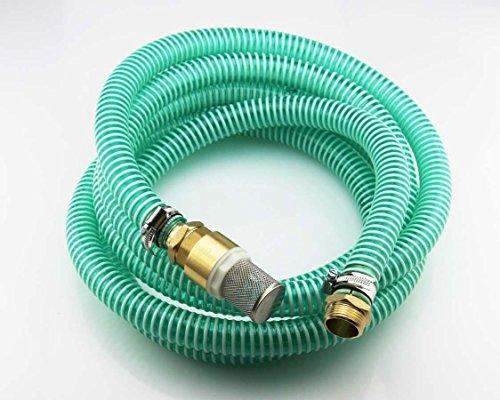 10m Saugschlauchgarnitur, PVC Spiralschlauch LW 25mm 1 Zoll, Filter- Rückschlagventil und Anschluss Messing 1