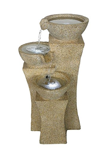 The Veneto 26' - Three Bowl Cascading Waterfall Rock Fountain w/3 LED - Light Granite. Elegant Water Feature Perfect for Your Outdoor Living Space. HF-B08-26L-LG