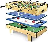 Leomark Table de babyfoot - 4 in 1 - Jeu de Football, Billard, Tennis, Hockey, Baby-Foot en Bois, Jeu de Football pour Enfants +...