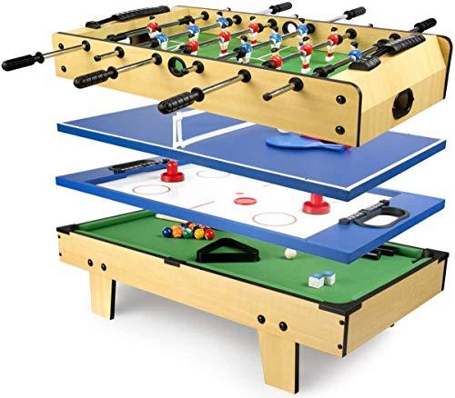 Leomark Table de babyfoot - 4 in 1 - Jeu de Football, Billard, Tennis, Hockey, Baby-Foot en Bois, Jeu de Football pour Enfants + Bracelet LED