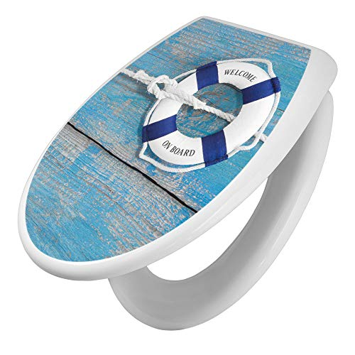 banjado Toilettendeckel mit Absenkautomatik   WC Sitz 44cm x 5cm x 37cm   Klodeckel weiß   Klobrille mit Edelstahl Scharnieren   Toilettensitz mit Motiv Blauer Rettungsring