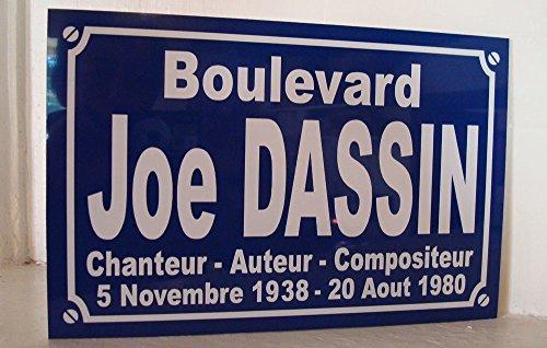 JOE DASSIN plaque de rue objet collection cadeau pour fan déco originale