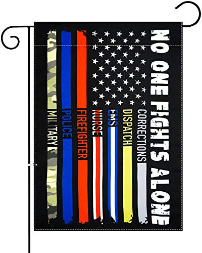 XIFAN No One Fights Alone USA Garden Flag First Responders Thin Line Vertical Double Sided 12.5 x 18 Inch Yard Outdoor Decoration