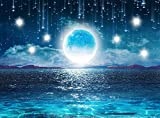 Starry Sky Ocean Moon and Stars Large Tapestry Wall Hanging Cloth Home 3D Cosmic Galaxy Space Tapestry Decoration Hanging Shelves Tablecloth for Bedroom Living Room 60''x 60''