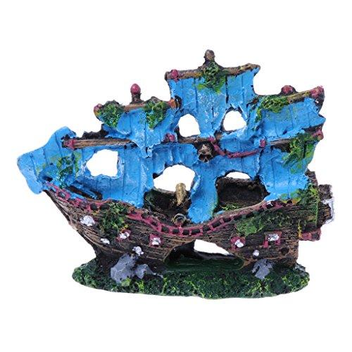 Acuario Ornamento Resina Vela Barco Sunk Barco Tanque Acuario Decoración