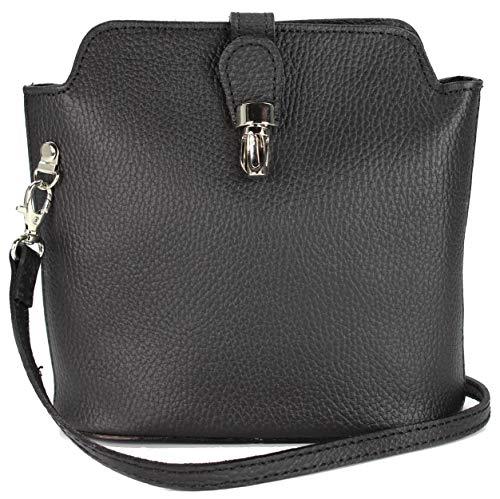 Belli kleine edle ital. Leder Handtasche Umhängetasche Farbauswahl in schwarz - 18x20x8 cm (B x H x T)