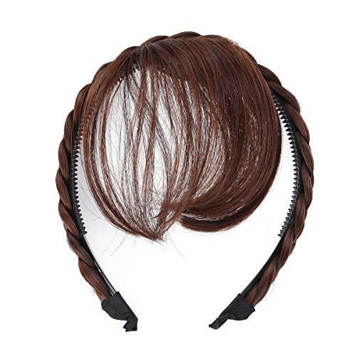 Lurrose Pelucas delanteras para el cabello Peluca Diadema Trenzas Accesorios para el cabello (Marrón claro)