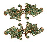 Bezelry Asymmetric Acanthus Leaf Hook and Eye Cloak Clasp Sew On Fasteners Pack of 4 Pairs 66mm x 28mm Fastened. (Copper Green)