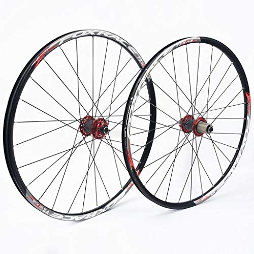 CHICTI 26 Inch Mountain Bike Wheelset, Double Wall Ultralight Carbon Fiber MTB Rim Disc Brake Hybrid 24 Hole Disc 7 8 9 10 Speed 100mm Outdoor (Color : A, Size : 27.5inch)