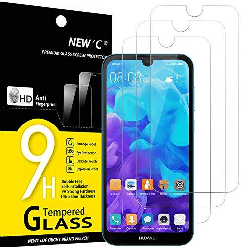NEW'C 3 Stück, PanzerglasFolie Schutzfolie für Huawei Y5 (2019), Frei von Kratzern Fingabdrücken & Öl, 9H Festigkeit, HD Bildschirmschutzfolie, 0.33mm Ultra-klar, Ultrawiderstandsfähig