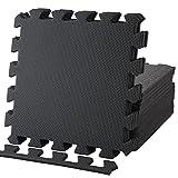 Geum EVA ジョイントマット エクササイズ/トレーニング用 30x30x1.0cm 18枚セット 床保護 キズ防止 防音(サイドパーツ18辺付き) (ブラック) Geum006