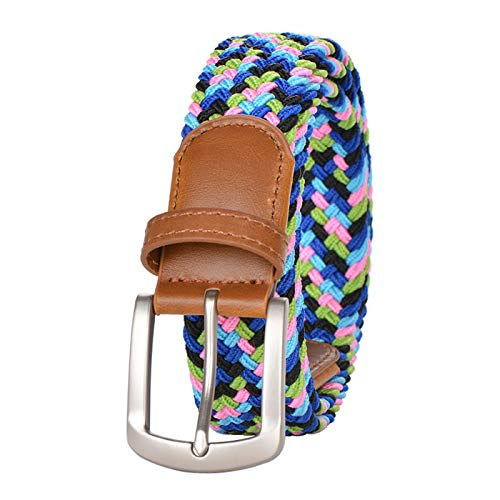 Braided Elastic Belts for Men and Women, Multicolor Stretch Woven Belt with Pin Buckle, 45 Inch (Candy color1)
