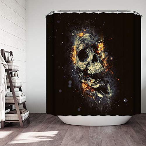Dreamdge Badezimmervorhänge 180 x 200, Anti-Schimmel Duschvorhang Wasserdicht Polyester Schwarzer Schädel mit 12 Duschvorhangringe für Badezimmer