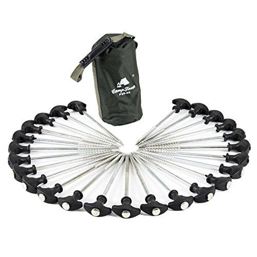 CampFeuer® - 25 x pinzas para tienda de campaña, resistentes, forma de T (20 cm), en una funda, para pesca, Camping