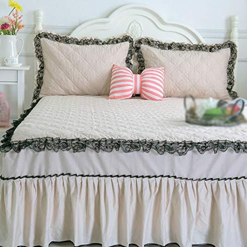 Faldón de Cama de algodón Grueso de una Sola Pieza, Antiarrugas, Antideslizante, para Cuatro Estaciones, Disponible en el Dormitorio 1. Cama de 5 Metros (59 Pulgadas), B, 2.0mbedskirt