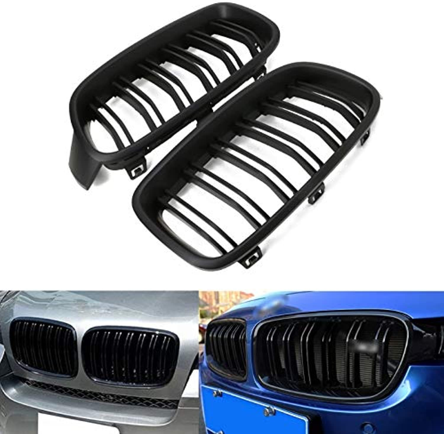 1Pair Matte Black Front Grille Kidney for BMW 3-Series F30 F31 F35 2012-2016 New