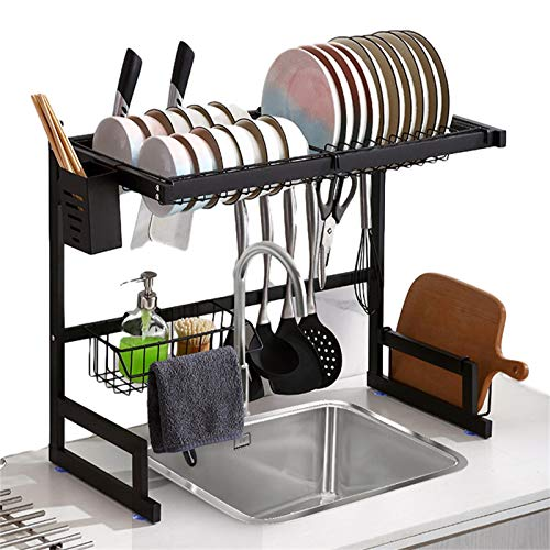 The stainless steel large-capacity 2-layer adjustable 25.6'-33.5' on the sink rack, the expandable rack storage organizer above the sink, and the kitchen dish drain rack above the sink (black)