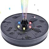Pretmess Solar Fountain for Bird Bath, Solar Water Fountain Pump with LED Lights and 7 Different Shapes Nozzles, Upgraded 3W Solar Powered Fountain Pump