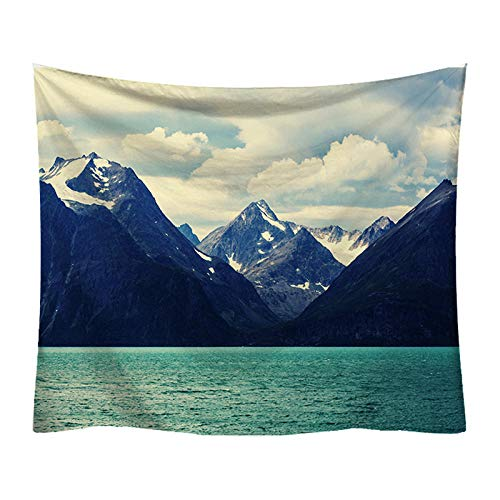 UUAPEERJ Tapiz de Pared Arte Bohemio Mandala Tapiz Colgante de Pared Indio Hippie tapices Nieve montaña Lago Bosque Toalla de playa-59x51 Pulgadas