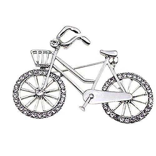 Emorias 1PC Elegante Kristall Fahrrad Brosche Anstecker für Strickjacke Mantel und Schultertücher | Klassisches Accessoire für Damen (Silber)
