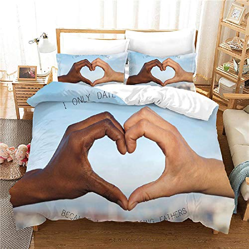 INFANDW Printed Duvet Cover Double bed and 2 Pillowcase Bed Set Ultra Soft Hypoallergenic Microfiber Bedding with Zipper Closure