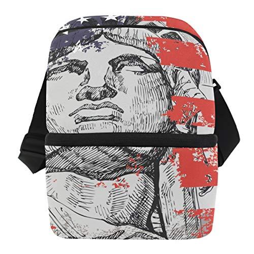 Amerikaanse vlag Vrijheidsbeeld mannen koelbox box picknick schouderriem lunch tas ijszak draagbaar