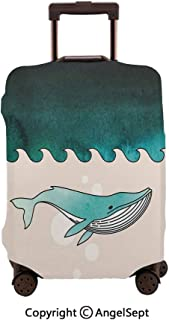 Travel Luggage Cover Dustproof Suitcase,Fish Swimming in the Ocean Pattern Underwater Submarine Petrol Blue Turquoise Cream,19.3x27.6inches,Cover Suitcase Protector Carry-On