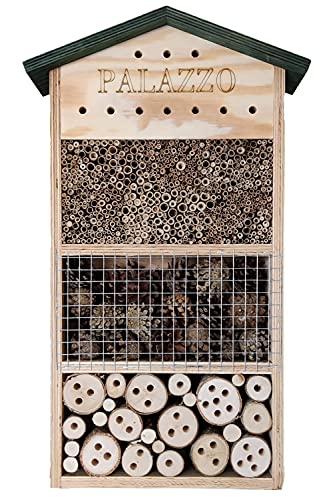 """Dokkodo Insektenhotel holz \""""Palazzo\""""   Insektenhotel groß   30,0 x 9,5 x 50,5 cm   Das stilvollste Insektenhotel   Insektenhotel Bienen, Marienkäfer, Fluginsekten   Zum Aufhängen"""